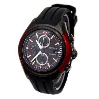 Citizen Watch Eco-Drive Chronograph Black Stainless-Steel Case Rubber Strap Mens NWT + Warranty CA0287-05E