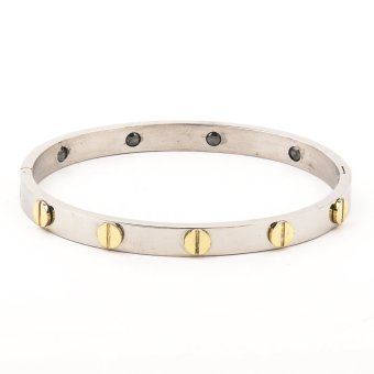 Classic Design Stainless Steel Two Tone Bangle
