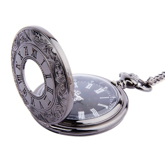 Classical Black Double Display Roman Scale Black and White GoldWhite Nostalgia Pocket Watch - 2