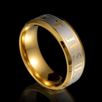 Classical Trendy Jesus Cross Rings Jesus Titanium Steel WeddingRing For Wedding Gift - intl