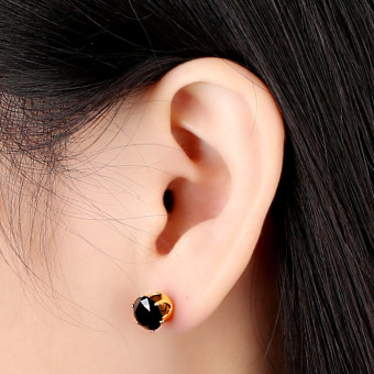 Clear Crystal Zircon 18K Gold Plated Crown Ear Stud Earring Jewelry Gift for Women Lady (Intl) - picture 2