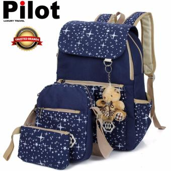 Clearance Sale!!!Pilot 9006 Korean Leisure Style Oxford CanvasLaptop Shoulder Bag Hand Pouch Casual Backpack Bag 4-Piece Set(Navy Blue) with FREE Teddy Bear Bag Charm
