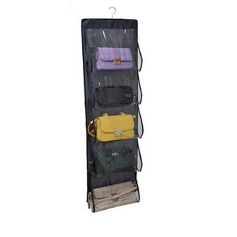 Closet Organizer Wardrobe Hanging Storage Bag System for Handbag(Dark Gray)