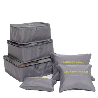 Clothes Storage Travel Luggage Organizer Pouch (Grey) Set of 6