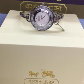 Coach Stainless Steel Bangle Watch with Swarovski Accent in Silver Tone
