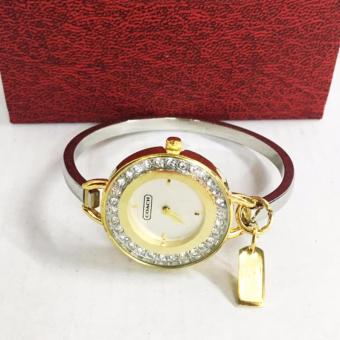 Coach Stainless Steel Two Toned Rhinestone Bangle Watch in Gold And Silver