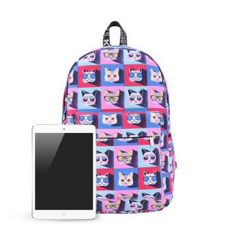 College Wind Many Cat Graffiti Backpack (Violet) - picture 2