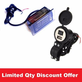 Combo Set Car Motorcycle E-bike 12v-24v DC 1.5A USB Waterproof Phone Charger #0454 with LED Waterproof Digital DC Voltmeter #0068