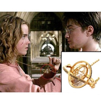 Comebuy88 Harry Potter Hermione Granger Rotating Time TurnerNecklace Gold Hourglass- - intl