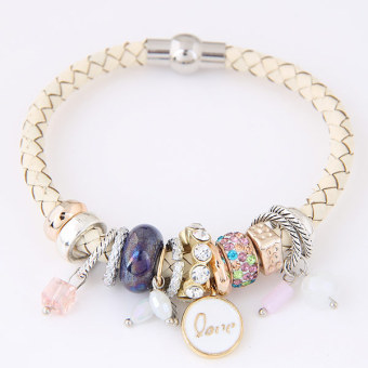 Concise European and American leather multi-elemntal elegant women's bracelet