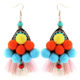 Concise European and American tassled style elegant exaggerated earrings