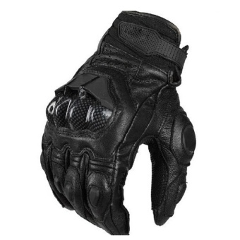 Cool Genuine Leather Carbon Fiber Motorcycle Gloves Keeping WarmMen Full Finger Adjustable Outdoor Riding Cycling Fitness HandGloves Black For Driving BMX ATV MTB Size XL - intl