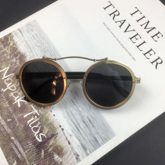Cool Hong female round frame retro sunglasses