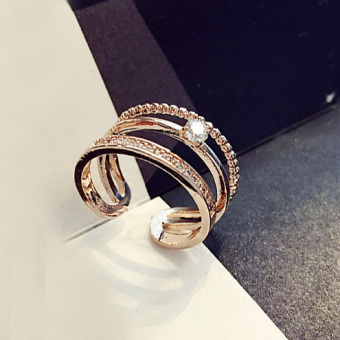 Cool Japan and South Korea female crystal ring (R114 gold) (R114 gold)