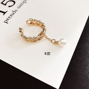 Cool Japan and South Korea Open Joint elegant pearl ring finger ring (Gold Pearl)