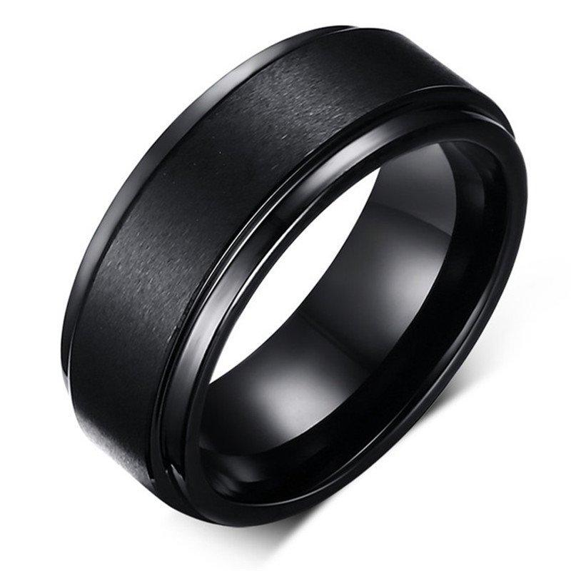 Cool Men Tungsten Carbide Ring Pure Tungsten Black Rings For Men Jewelry  8mm Wide Men Wedding