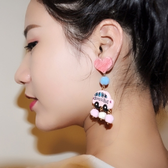 Cool pink acrylic small car stud tassled earrings