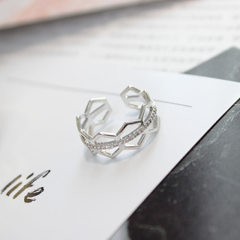 Cool simple elegant Ring (Silver. Double wavy Diamond) (Silver. Double wavy Diamond)