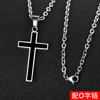 Cool simple titanium steel student pendant cross men's necklace