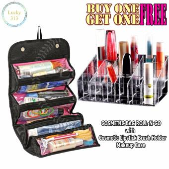 COSMETIC BAG ROLL-N-GO With Clear Acrylic 24 Lipstick HolderDisplay Stand Cosmetic Organizer