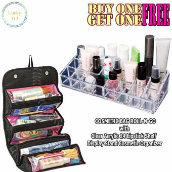 COSMETIC BAG ROLL-N-GO With Clear Lipstick Shelf Display StandCosmetic Organizer