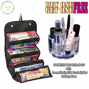 COSMETIC BAG ROLL-N-GO With Cosmetic Lipstick Brush Holder MakeupCase