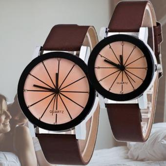 Couple Black Leather Strap Watch (brown)