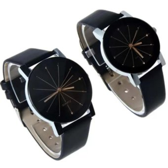Couple Black Leather Strap Watch with FREE LD LACE