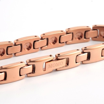 Couple Design Stainless Steel Germanium Nagative Ion MagneticHealth Care Stainless Steel Energy Bracelet Rose Gold Plated 10112- intl - 3