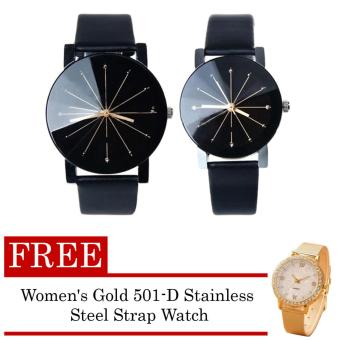 Couple Leather Strap Watch (Black) with FREE Women's Gold 501-D Stainless Steel Strap Watch