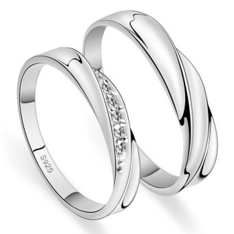 Couple Rings Jewellry 925 Silver Adjustable Lovers Ring Jewelry E004 - intl