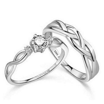 Couple Rings Jewellry 925 Silver Adjustable Lovers Ring Jewelry E028 - intl