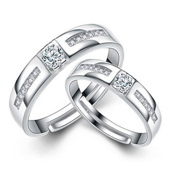 Couple Rings Jewellry 925 Silver Adjustable Lovers Ring Jewelry E028 - intl - 3