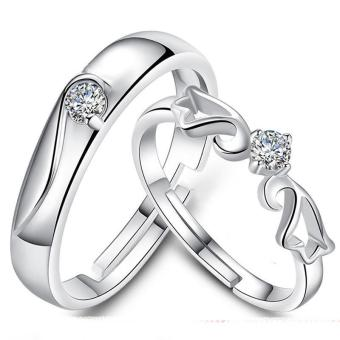 Couple Rings Jewellry 925 Silver Adjustable Lovers Ring JewelryE005 - intl