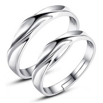 Couple Rings Jewellry 925 Silver Adjustable Lovers Ring JewelryE008 - intl