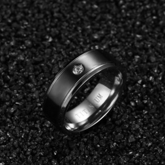 Couple Rings Titanium Steel Ring Wedding Band Black (Price is for a ring) - Intl - 5