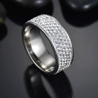 Couple Stainless Steel Gold Silver Crystal Ring Men Women WeddingBand Rings New - intl