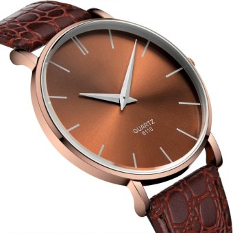 Couple Ultrathin Brown Leather Strap Watch 6110 - 2