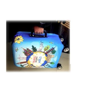 (Cover only) Elite Luggage Cover / Suitcase Cover ( Stamp ) - large - 5