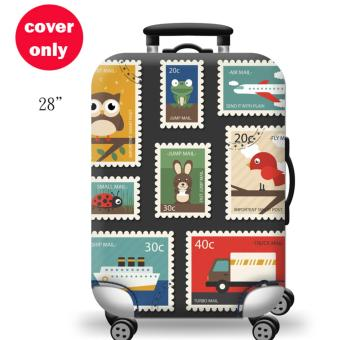 (Cover only) Elite Luggage Cover / Suitcase Cover ( Stamp ) - large