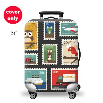 (Cover only) Elite Luggage Cover / Suitcase Cover ( Stamp ) -medium