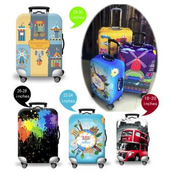 (Cover only) Elite Luggage Cover / Suitcase Cover ( Stamp ) -medium - 2