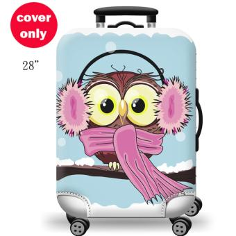(Cover only) Elite Luggage Cover / Suitcase Cover ( Winter Owl )-large