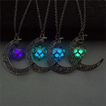 Creativelife Luminous Beads Glow Halloween's Pumpkin Moon WomenLong Pendant Necklace Sailor Heart Moon Fashion Jewellery (Silver)- intl