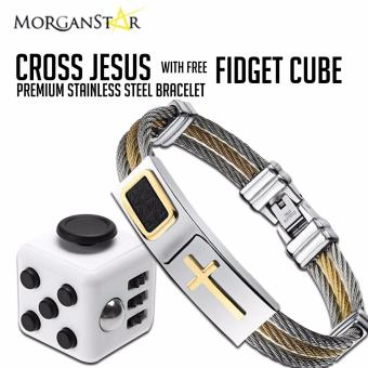 Cross Jesus Premium Stainless Steel Bracelet with free fidget cube any color