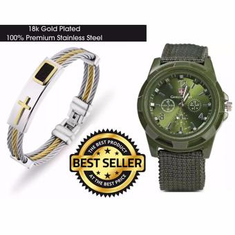 Cross Jesus Premium Stainless Steel Bracelet with GEMIUS ARMYMilitary Sport Style Army Men's Canvas Strap Watch (Green) Price Philippines