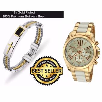Cross Jesus Premium Stainless Steel Bracelet with Geneva Three EyesStrip Women's Two-Tone Stainless Steel Strap Watch 179 (Cream/Gold)