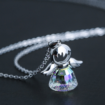 Crystal angel s925 silver female choker pendant necklace