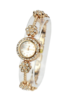 Crystal Quartz Bracelet Women Wrist Watches (Gold)