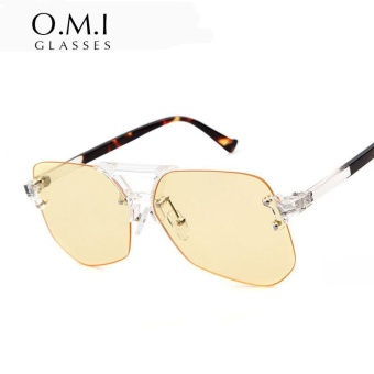 CRYSTAL STORY 2017 Transparent Rimless Yellow Tinted Clear Aviator Sunglasses Versae Men Women Sun Glasses Shades Sunglasses - intl